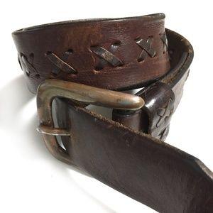 Leather belt and bracelet bundle